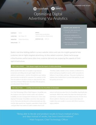 Snowflake & Zeeto: Optimizing Digital Advertising Via Analytics