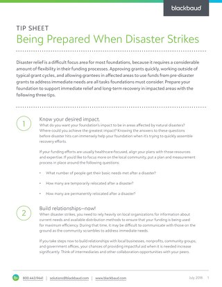 Foundations Tipsheet: Be Prepared When Disaster Strikes