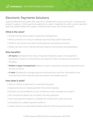 Electronic Payments Solutions Overview