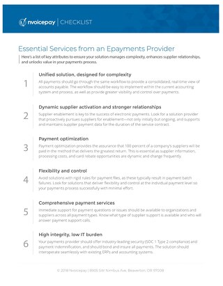 Essential Services from an Epayments Provider