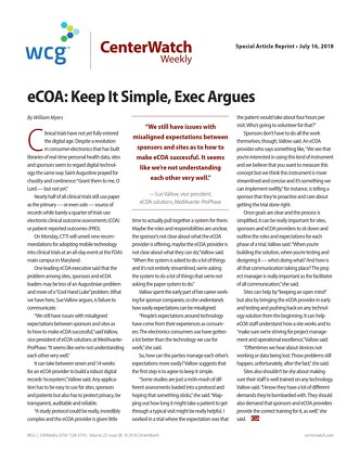 eCOA: Keep it Simple, Exec Argues