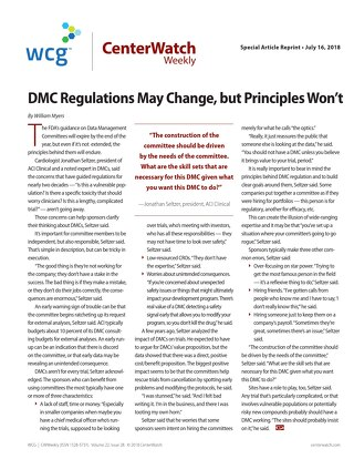 DMC Regulations May Change, but Principles Won't