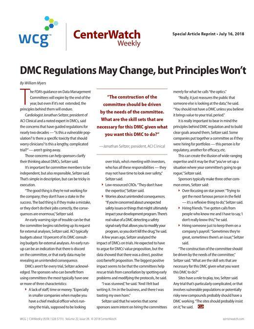 DMC Regulations May Change, but Principles Won't