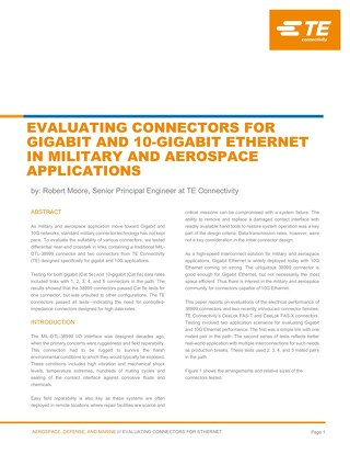 Evaluating Connectors for Gigabit and 10 Gigabit Ethernet in Military and Aerospace Applications