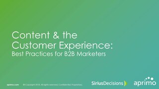 Content & the Customer Experience Best Practices for B2B Marketers