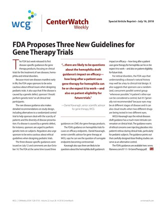 FDA Proposes Three New Guidelines for Gene Therapy Trials
