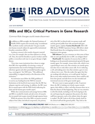 IRBs and IBCs: Critical Partners in Gene Research