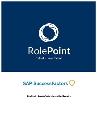 RolePoint + SuccessFactors Integration Overview v3.0