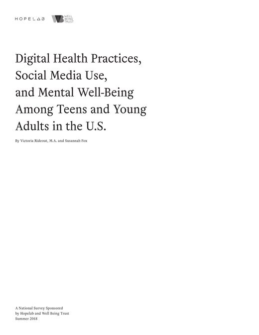 Digital Health Practices, Social Media Use, and Mental Well-Being Among Teens and Young Adults in the U.S.