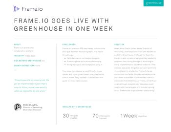 Frame.io Goes Live with Greenhouse in One Week