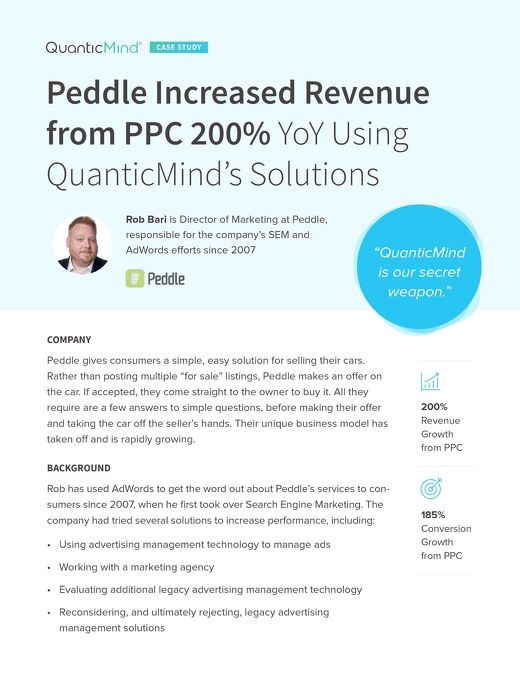 Peddle Increased Revenue from PPC 200% Using QuanticMind -- Customer Success Story
