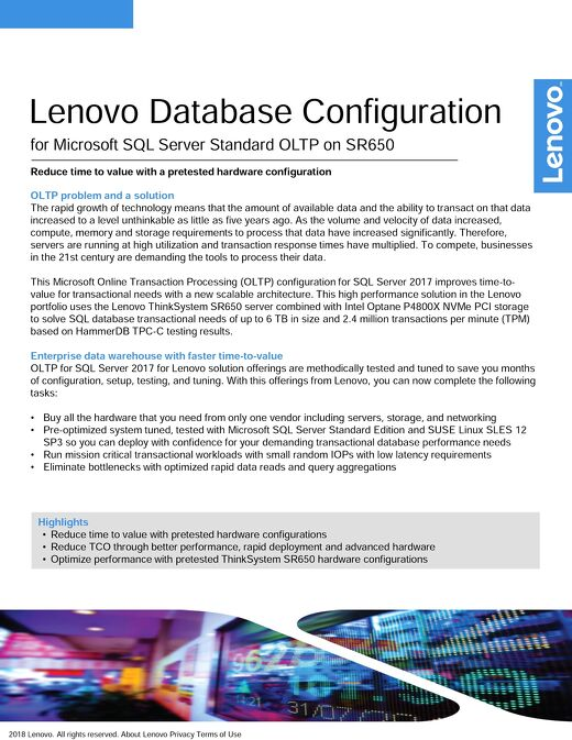 Lenovo Database Configuration for Microsoft SQL Server Standard OLTP on SR650