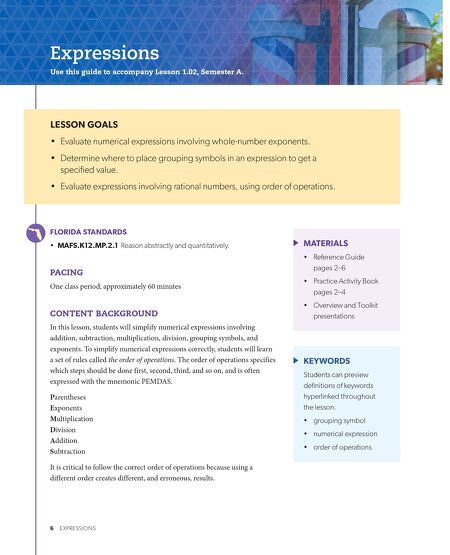 Brochures Florida Algebra 1 Teachers Guide Vol A