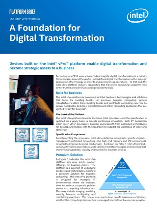 The Intel vPro Platform: A Foundation for Digital Transformation