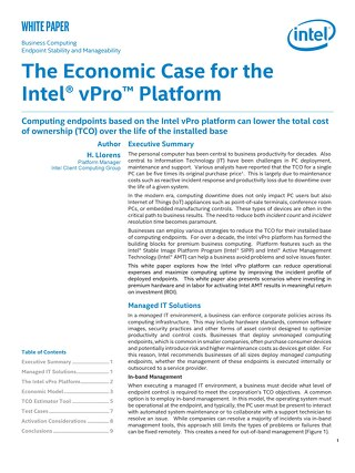 The Economic Case for the Intel vPro Platform