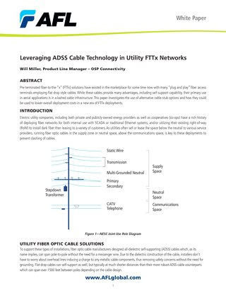 Leveraging ADSS Cable Technology in Utility FTTx Networks