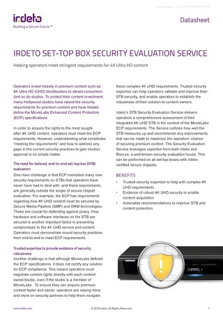 Datasheet: Irdeto Set-Top Box Security Evaluation Service