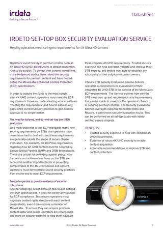 Datasheet: Irdeto Set-Top Box Security Evaluation Service