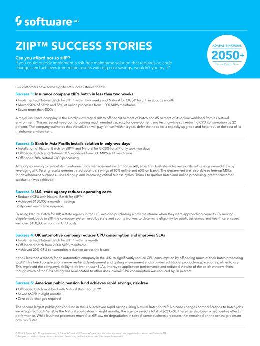 zIIP: Customer success stories