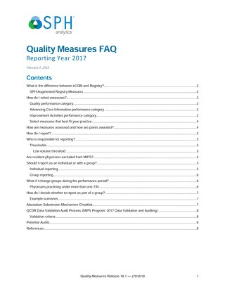 Quality Measures FAQs