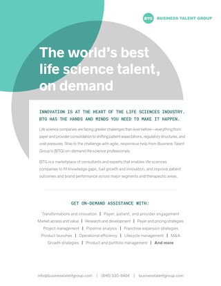 Business Talent Group Key Strengths: Life Sciences