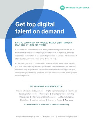 Business Talent Group Key Strengths: Digital Talent