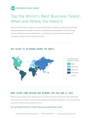 Business Talent Group Key Strengths: Global Experience Map