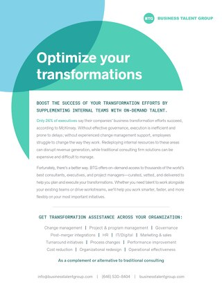 Business Talent Group Key Strengths: Transformations