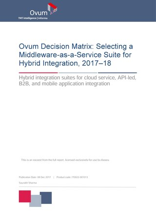 Ovum Decision Matrix: Selecting a Middleware-as-a-Service Suite for Hybrid Integration, 2017-18