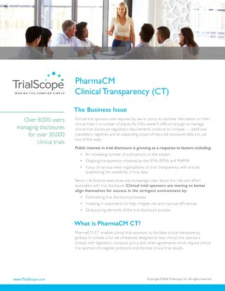 TrialScope PharmaCM Clinical Transparency (CT)