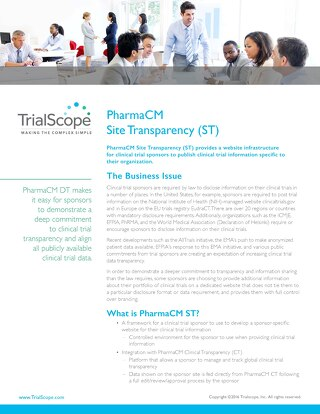 TrialScope PharmaCM Site Transparency (ST)