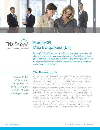TrialScope PharmaCM Data Transparency (DT)