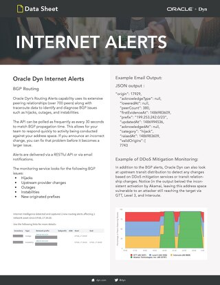 Internet Alerts Routing Data Sheet
