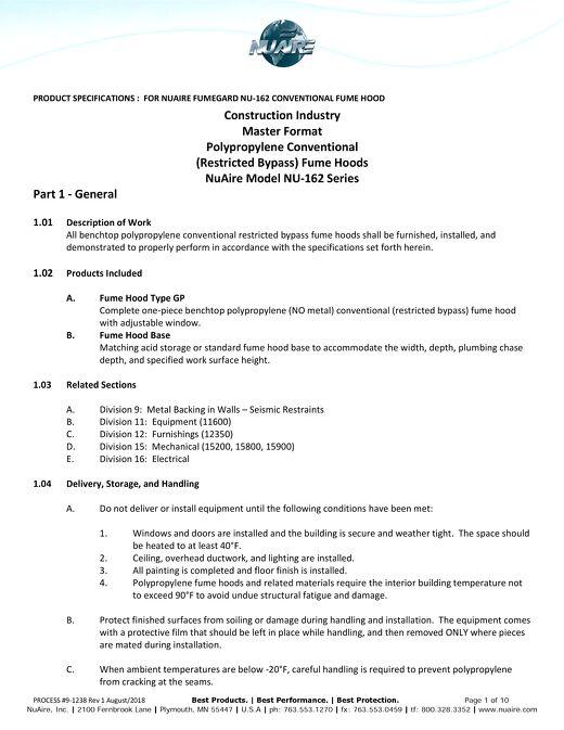 [Spec] NU-162 Conventional Polypropylene Fume Hood