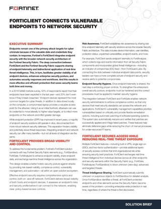FortiClient Connects Vulnerable Endpoints to Network Security