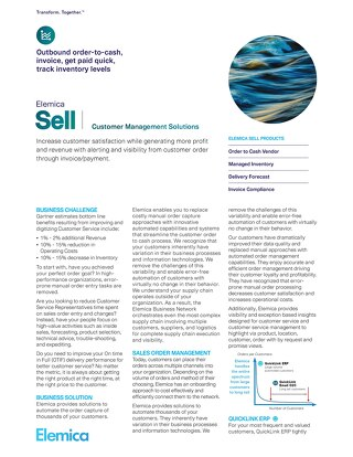 Elemica Sell: Customer Management Solutions