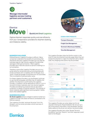 Elemica Move:  QuickLink Email Logistics