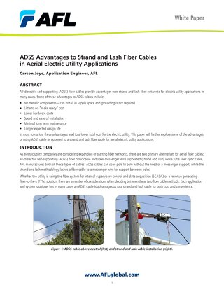 ADSS Advantages to Strand and Lash Fiber Cables in Aerial Electric Utility Applications