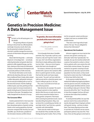 Genetics in Precision Medicine: A Data Management Issue