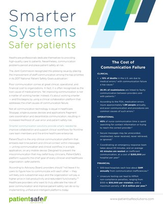 Smarter Systems Safer Patients