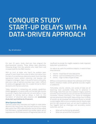 Conquer Study Start-Up Delays With a Data-Driven Approach