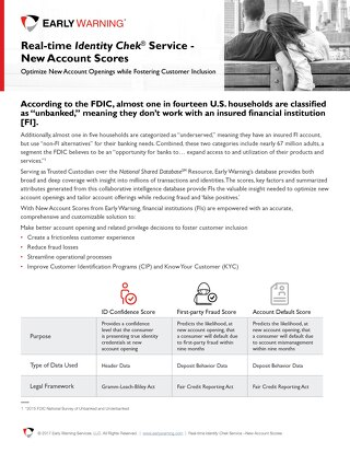 Real Time Identity Chek Service - New Account Scores