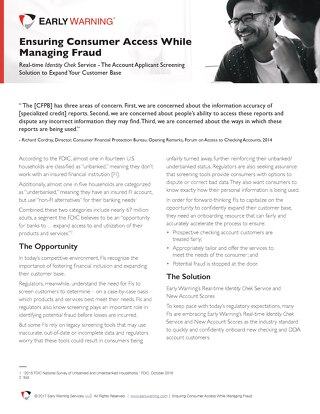 Ensuring Consumer Access While Managing Fraud Whitepaper