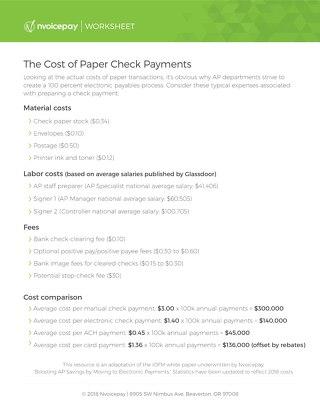 The Cost of Paper Check Payments