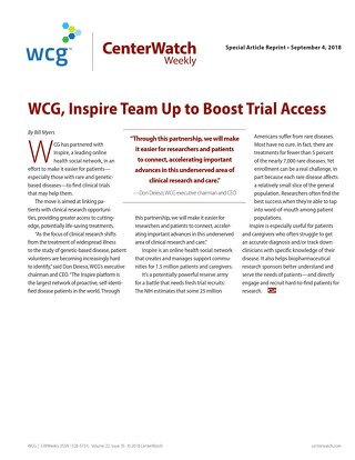 WCG, Inspire Team Up to Boost Trial Access