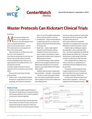 Master Protocols Can Kickstart Clinical Trials