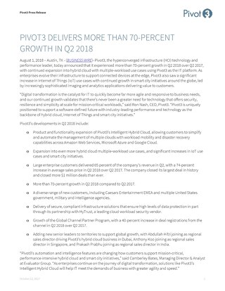 [Press Release] Pivot3 Q2 2018 Momentum