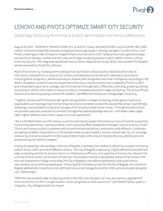 [Press Release] Pivot3 Lenovo Smart Cities Announcement