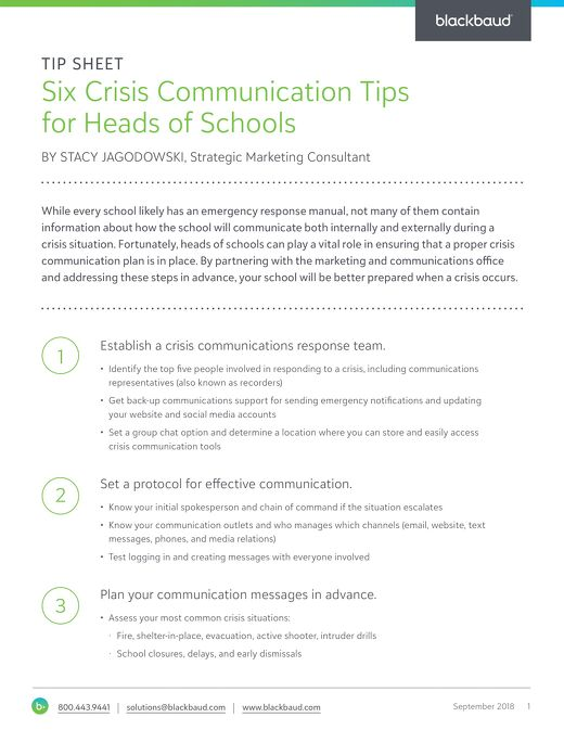 Six Crisis Communication Tips for Heads of Schools