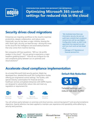 Optimizing Microsoft 365 control settings for reduced risk in the cloud